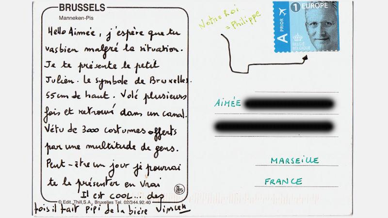 Chronique d'un théâtre en confinement #20 garder le lien au-delà des frontières  - carte postale numérique par Aimée pour Vincen Beeckman